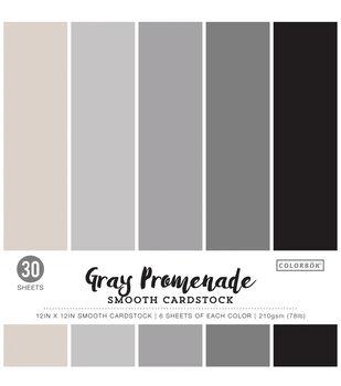 "Colorbok 78lb Smooth Cardstock 12""X12"" 30pk-Gray Promenade"
