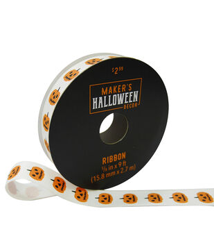 Maker's Halloween Decor Ribbon 5/8''x9'-Pumpkins on White