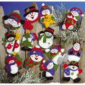Lots Of Fun Snowmen Ornaments Felt Applique Kit 3\u0022X4\u0022 Set Of 13