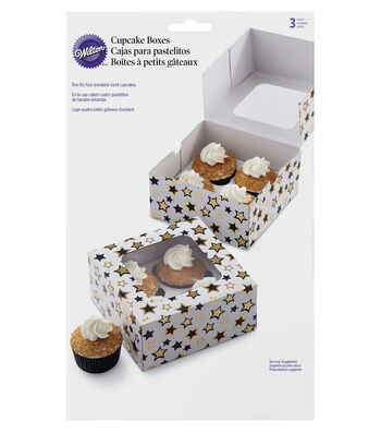 Wilton 3 Pack Cupcake Boxes-Black & Gold Star