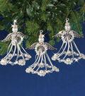 Solid Oak Nostalgic Christmas Beaded Crystal Ornaments Kit-Silver Angels