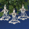 Solid Oak Nostalgic Christmas Beaded Crystal Ornaments Kit-Silver Angels