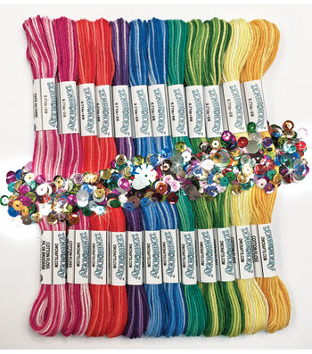 Design Works Zenbroidery Pack of 12 Skeins Floss-Variegated