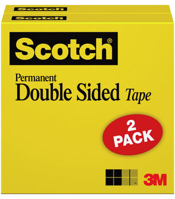 Scotch 2 pk 0.5''x500'' Permanent Double Sided Boxed Tape