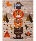 No Sew Fleece Throw 48\u0027\u0027x60\u0027\u0027-Totem Pole Animals