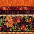 Harvest Cotton Fabric -Pumpkin Mum Burst Stripe Met