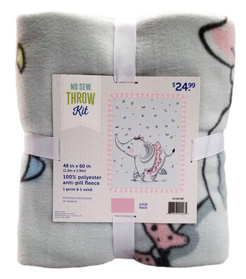 "No Sew Fleece Throw Kit 48""-Elephant Ballerina"