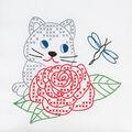 Jack Dempsey Stamped White Quilt Blocks Kitten & Rose