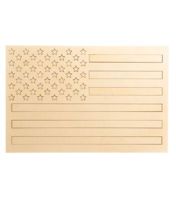 Camp Ann Crafts Unfinished Wood Puzzle-USA Flag