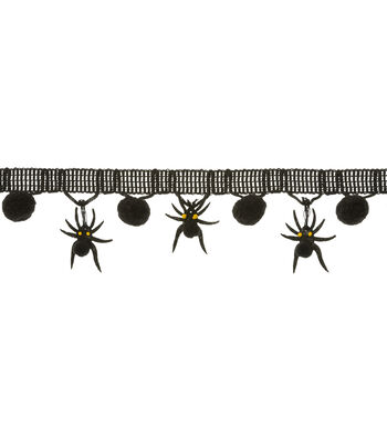 "Maker's Halloween Trim 1.5""x1yd-Spider Pom"