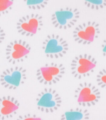 "Blizzard Fleece Fabric 59""-Hearts on White"