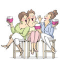Art Impressions Girlfriends Cling Rubber Stamp Wine Tasters