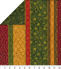 Double Faced Glitter Quilt Fabric-Traditional Stripes