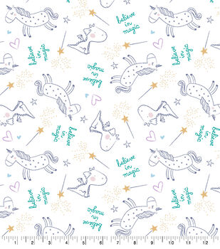Snuggle Flannel Fabric-Believe In Magic Unicorn