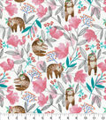 Novelty Cotton Fabric-Sleepy Sloths & Flowers