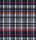 Doodles Woven Cotton Juvenile Apparel Fabric 44\u0027\u0027-Navy Plaid