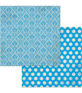 BoBunny Double Dot 25 pk Double-Sided Cardstock-Brilliant Blue Damask
