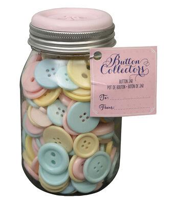 Button Collector Mason Jar-Pastel Mix