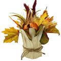Blooming Autumn Orange Pumpkin & Corn Husk Arrangement