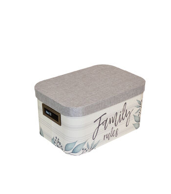 Medium Oval Steamer Box with Fabric Lid-Grateful Blessed
