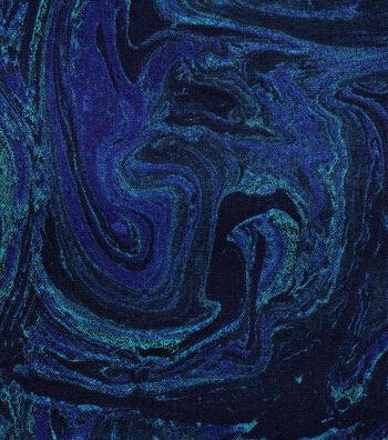 Keepsake Calico Cotton Fabric 43''-Blues Marble Swirl