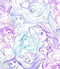 Disney Ariel Cotton Fabric 43\u0022-Sketch