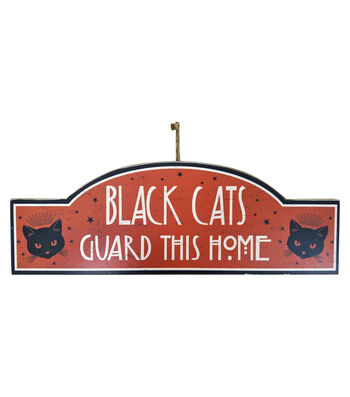 Maker's Halloween Wall Decor-Black Cats Guard This Home