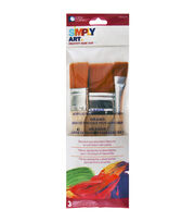 Loew-Cornell Simply Art 3 pk Large Brown Nylon Flat Brushes, , hi-res