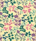 Premium Cotton Print Fabric 43\u0027\u0027-Watercolor Vines on Yellow
