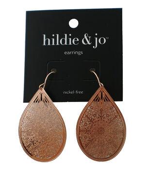 hildie & jo Teardrop Dangle Earrings-Rose Gold