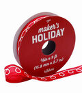 Maker\u0027s Holiday Whimsy Workshop Ribbon 5/8\u0027\u0027x9\u0027-White Squiggle on Red