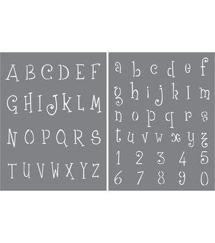 DecoArt Americana 2 pk Stencils-Whimsical Delight Alphabet