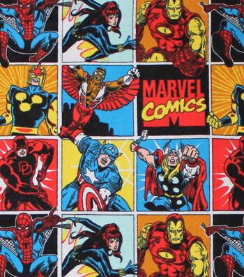 "Marvel Comics Comic Flannel Fabric 42""-Heroes"