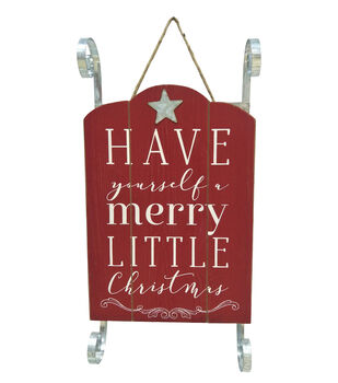 Handmade Holiday Sled Wall Decor-Have Yourself a Merry Little Christmas