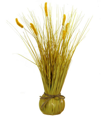 Blooming Autumn 17'' Cattail Arrangement-Yellow