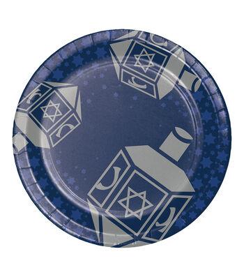 Maker's Holiday Hanukkah 8 pk 9'' Paper Dinner Plates-Dreidel