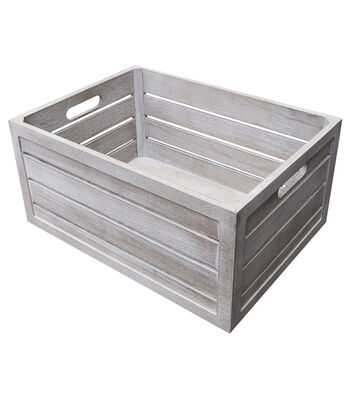 Fab Lab Large White Wash Crate with Handles
