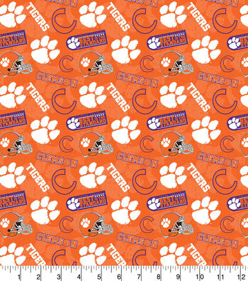 Clemson University Tigers Cotton Fabric-Tone on Tone