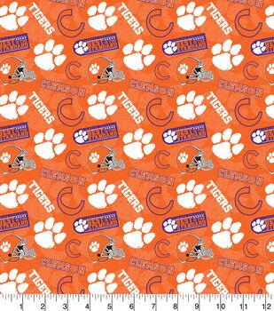 Clemson University Tigers Cotton Fabric-Tone on Tone