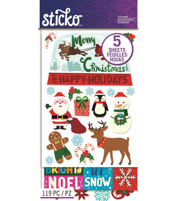 Sticko 119 Pack Christmas Holiday Stickers Flip Pack