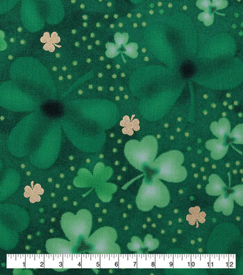 St. Patrick's Day Cotton Fabric-Tossed Clovers with Foil