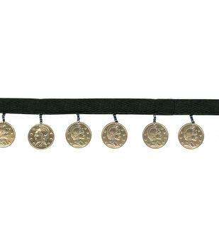 "1 3/8"" Black Band Gold Coins Apparel Trim"