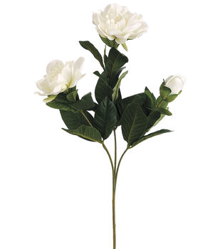 "Bloom Room 27"" Gardenia Spray with 2 Flw.&1 Bud-White"
