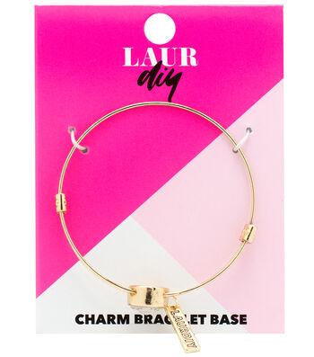 LaurDIY Gold Finish Adjustable Bracelet Base-Center Rhinestone