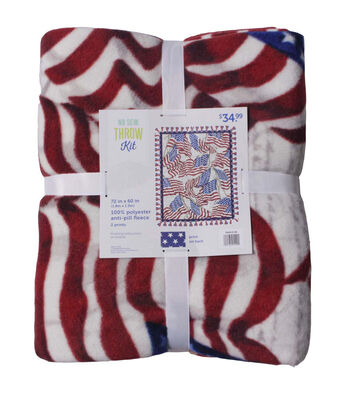 No Sew Fleece Throw-Waving Flags