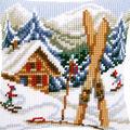 Vervaco 16\u0027\u0027x16\u0027\u0027 Needlepoint Cushion Top Kit-Ski Lodge