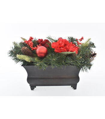 Blooming Holiday Christmas 17'' Hydrangea, Berry & Pine Arrangement