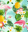 No Sew Fleece Throw 72\u0027\u0027-Pineapple & Flamingos
