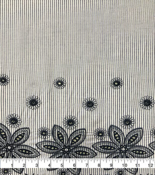 Specialty Cotton Embroidered Fabric-Blue White Stripe