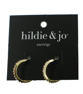 hildie & jo Gold Hoop Earrings-Clear Round Crystals